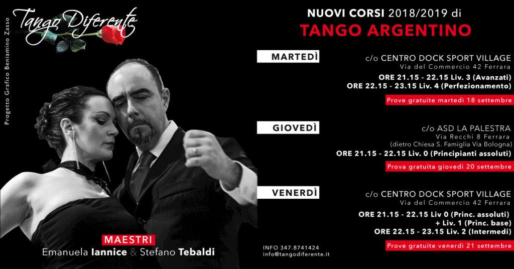 Nuovi Corsi di Tango 2018 / 2019 Tango Diferente asd - Free Week @ FERRARA